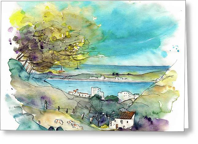 Portugal Art Greeting Cards - Seascape in Portugal 01 Greeting Card by Miki De Goodaboom