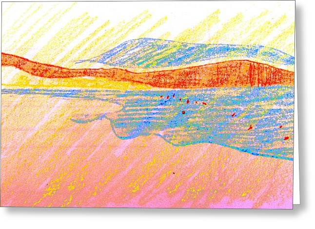 Summer Scene Drawings Greeting Cards - Seascape Limassol Cyprus Greeting Card by Anita Dale Livaditis