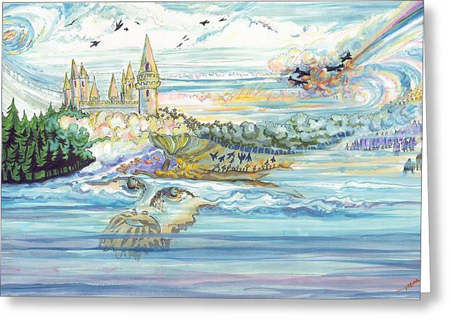 Camelot Mixed Media Greeting Cards - Seascape Man Greeting Card by Marsha Walker