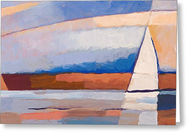 Abstract Seascape Art Greeting Cards - Seascape Panoramic Greeting Card by Lutz Baar