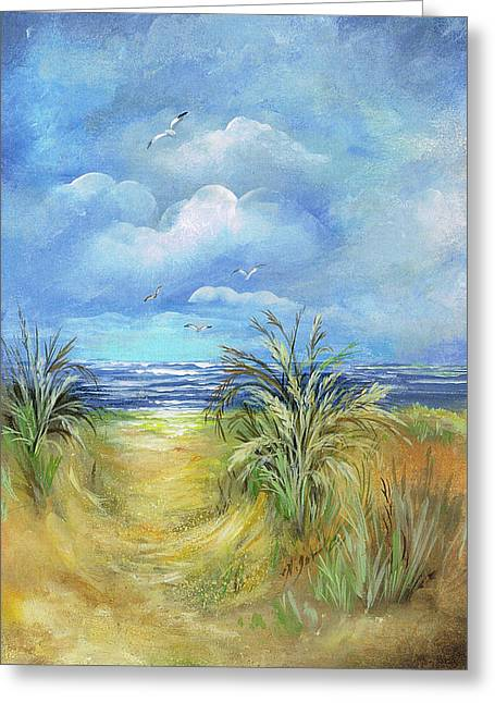 Sea Oats Mixed Media Greeting Cards - Seascape Print Greeting Card by Nancy Gorr