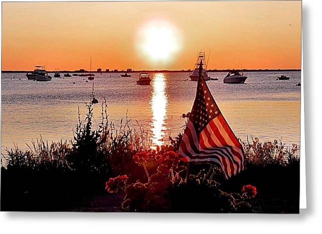 Plymouth Harbor Greeting Cards - Seascape Sunrise Greeting Card by Janice Drew