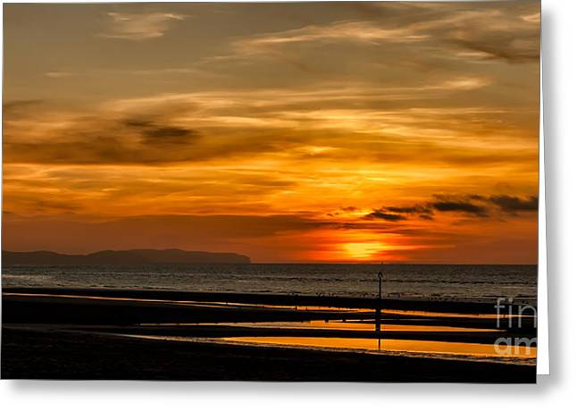 Nature Scene Digital Art Greeting Cards - Seascape Sunset 2 Greeting Card by Adrian Evans