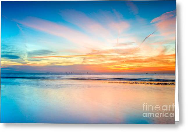 Beach Scenery Greeting Cards - Seascape Sunset Greeting Card by Adrian Evans
