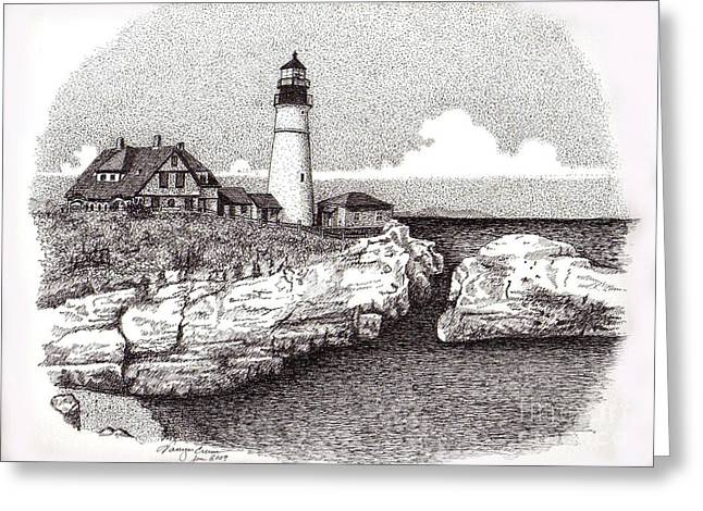 Maine Landscape Drawings Greeting Cards - Seascape Greeting Card by Tanya Crum