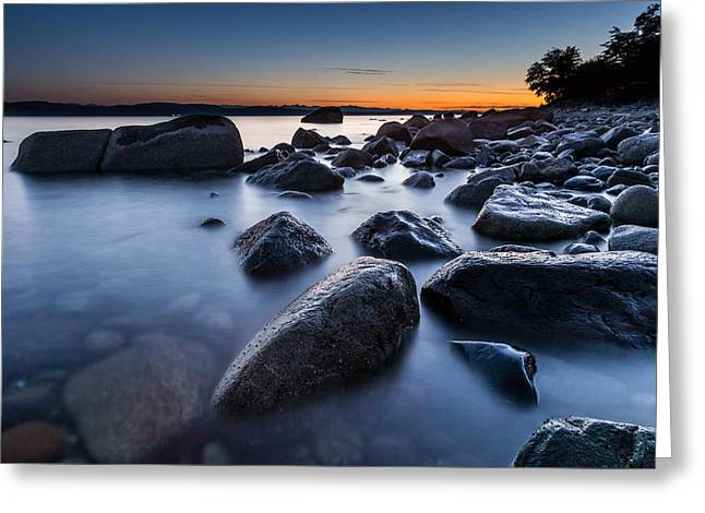 Seascape Twilight Greeting Card by Pierre Leclerc Photography