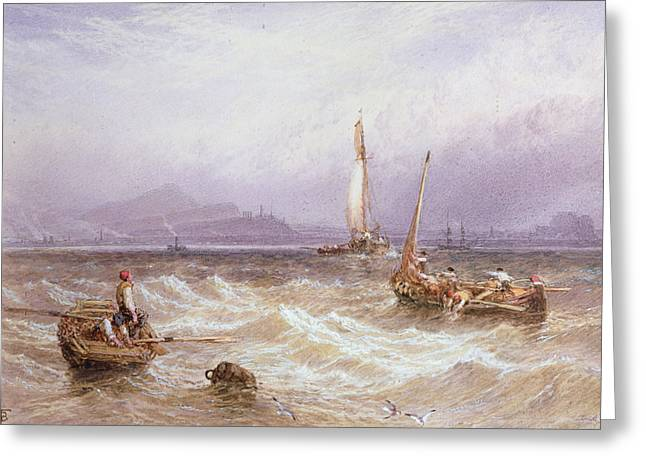 Fishing Boats Greeting Cards - Seascape Wc On Paper Greeting Card by Myles Birket Foster
