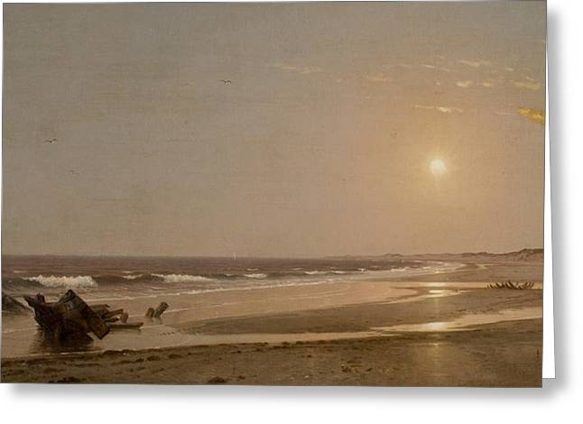 Panoramic Ocean Paintings Greeting Cards - Seascape Greeting Card by William Trost Richards