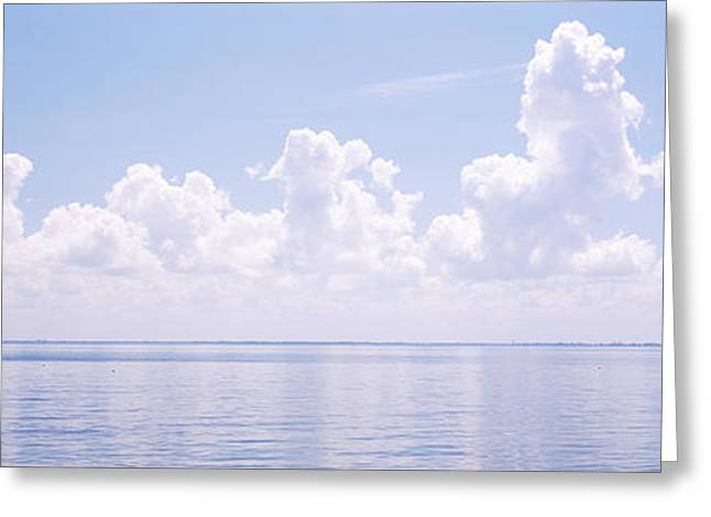 Florida Bridge Greeting Cards - Seascape With A Suspension Bridge Greeting Card by Panoramic Images