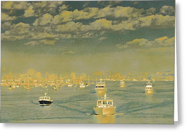 Seascape With Clouds Greeting Cards - Seascape With Boats Greeting Card by Ben and Raisa Gertsberg
