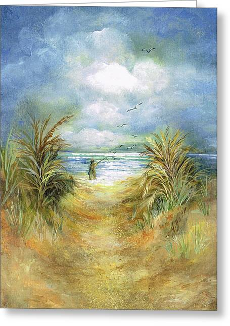 Sea Oats Mixed Media Greeting Cards - Seascape With Fisherman Greeting Card by Nancy Gorr