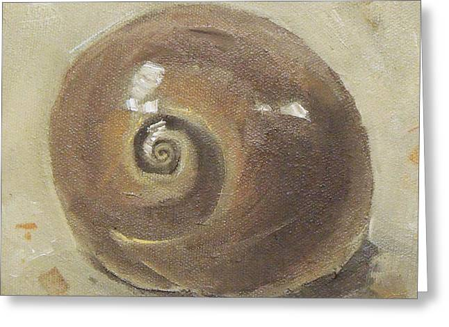 Seashell Picture Paintings Greeting Cards - Seashell Beach Moon Shell Snail  Greeting Card by Mary Hubley