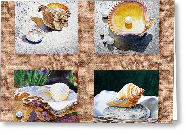 Sea Shell Art Paintings Greeting Cards - Seashell Collection I Greeting Card by Irina Sztukowski