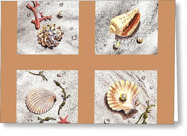 Interior Still Life Paintings Greeting Cards - Seashell Collection II Greeting Card by Irina Sztukowski