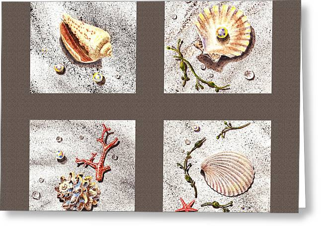 Sea Shell Art Paintings Greeting Cards - Seashell Collection III Greeting Card by Irina Sztukowski