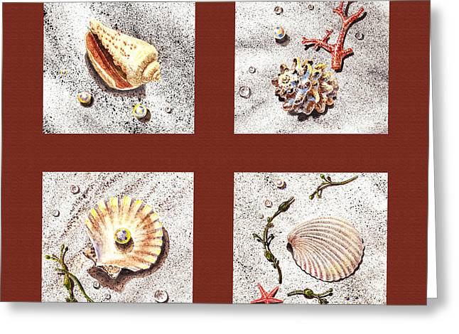Sea Shell Art Paintings Greeting Cards - Seashell Collection IV Greeting Card by Irina Sztukowski