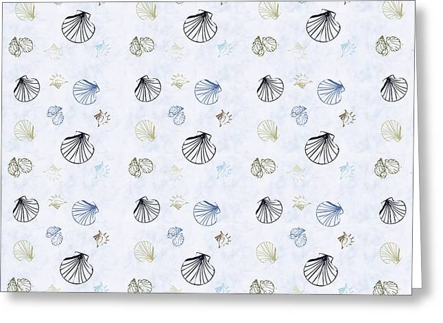 Shell Pattern Greeting Cards - Seashell Pattern Greeting Card by Christina Rollo