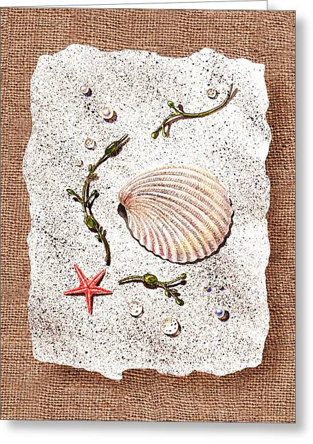 On The Beach Greeting Cards - Seashell With Pearls Sea Star And Seaweed  Greeting Card by Irina Sztukowski