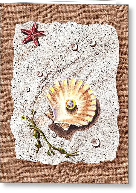 Sea Shell Art Paintings Greeting Cards - Seashell With The Pearl Sea Star And Seaweed  Greeting Card by Irina Sztukowski