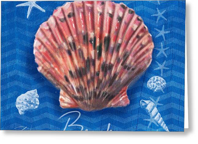 Ocean Shore Mixed Media Greeting Cards - Seashells on Blue-Beach Greeting Card by Shari Warren