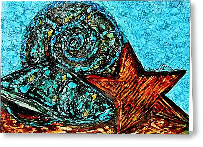 Shell Texture Greeting Cards - Seashells Treasures Alcohol Inks Greeting Card by Danielle  Parent