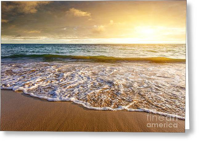 Tropical Oceans Greeting Cards - Seashore Sunset Greeting Card by Carlos Caetano