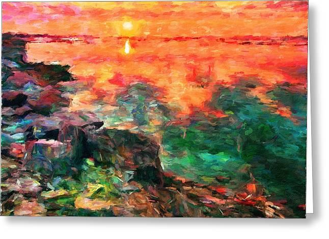 Amazing Sunset Greeting Cards - Seashore Sunset Greeting Card by Yury Malkov