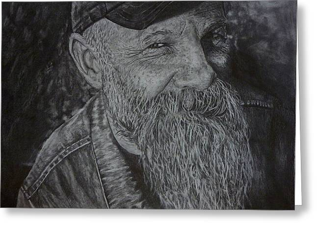 Hyperrealistic Greeting Cards - Seasick Steve  Greeting Card by Rebekah Williamson