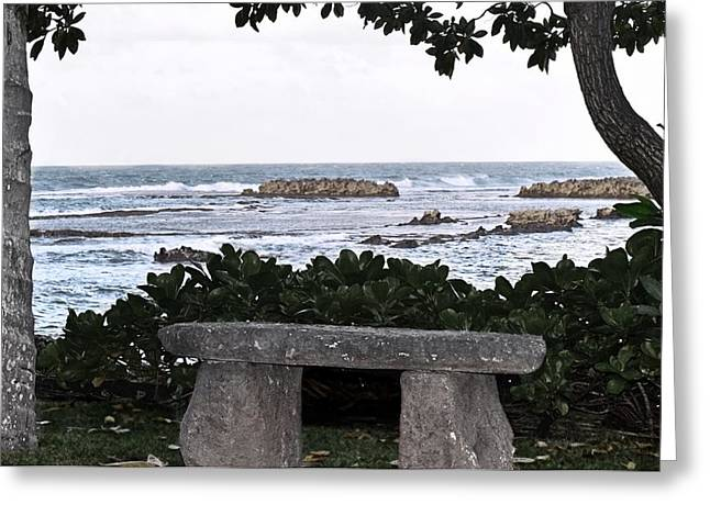 My Ocean Greeting Cards - Seaside Bench Greeting Card by Brandy Muses