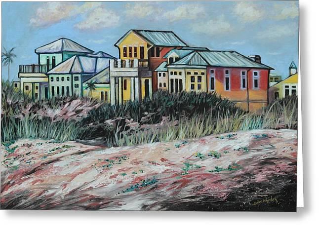 Eve Wheeler Greeting Cards - Seaside Cottages Greeting Card by Eve  Wheeler