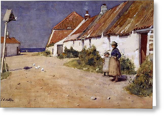 Sea Birds Drawings Greeting Cards - Seaside Cottages With Dovecot Greeting Card by Edward Arthur Walton