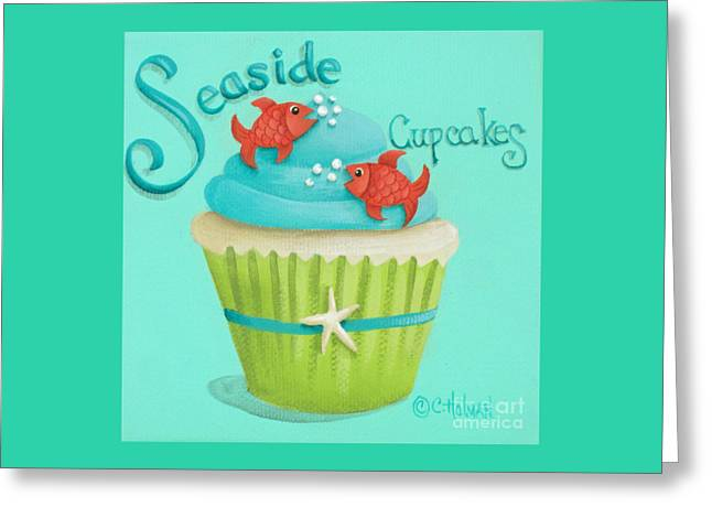 Dessert Art Greeting Cards - Seaside Cupcakes Greeting Card by Catherine Holman