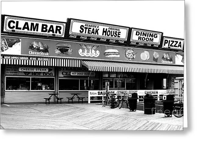 Old School Galleries Greeting Cards - Seaside Dining Greeting Card by John Rizzuto