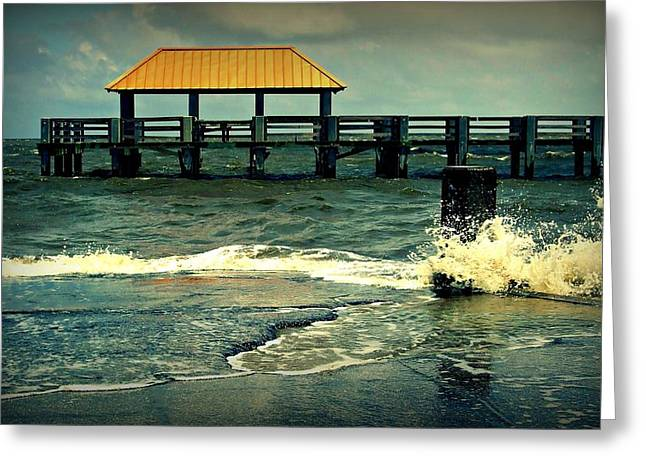Seaside Dock Greeting Card by Ali Dover
