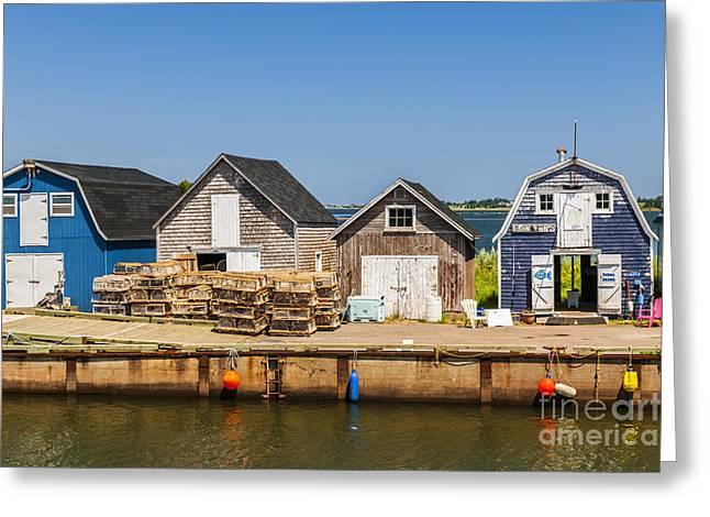 Lobster Traps Greeting Cards - Seaside dock of Prince Edward Island Greeting Card by Elena Elisseeva