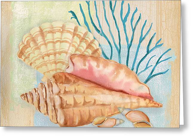Jelly Fish Paintings Greeting Cards - Seaside Dream-B Greeting Card by Jean Plout