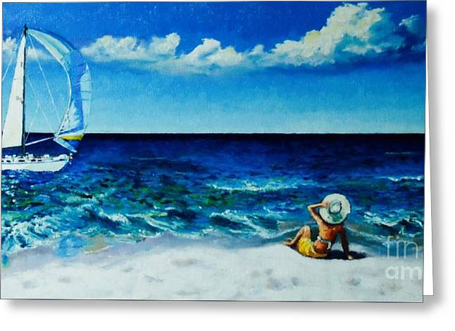 Blue Sailboats Greeting Cards - Seaside escape Greeting Card by ElsaDe Paintings