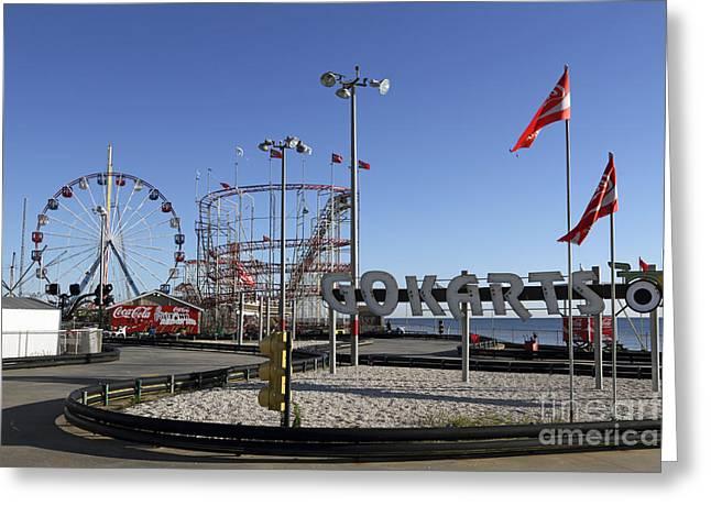 Go Cart Greeting Cards - Seaside Fun Town Pier Greeting Card by John Van Decker