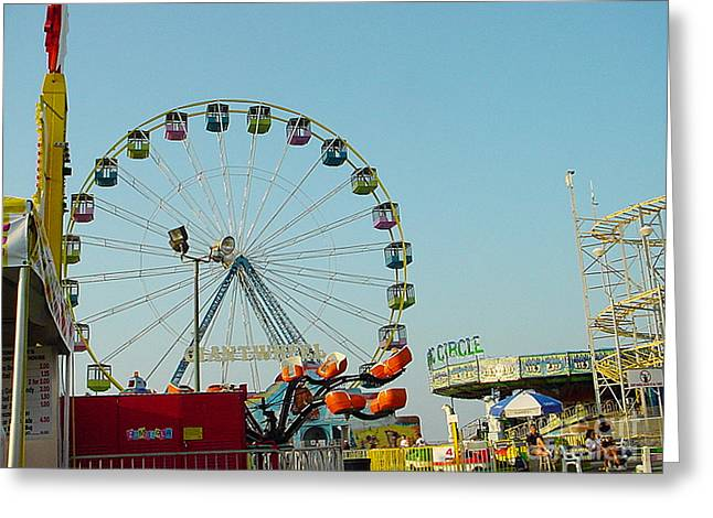 Casino Pier Greeting Cards -  Giant Wheel Seaside NJ Greeting Card by Lyric Lucas