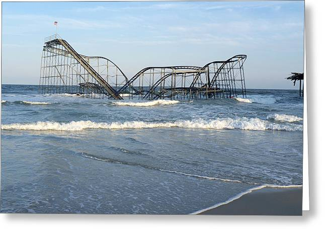 Seaside Heights - Jet Star Roller Coaster In Ocean Greeting Card by Niday Picture Library