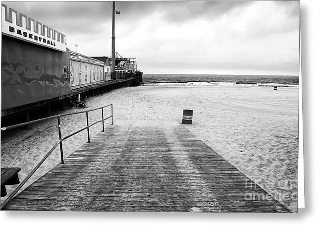 Seaside Height Greeting Cards - Seaside Heights Beach in black and white Greeting Card by John Rizzuto