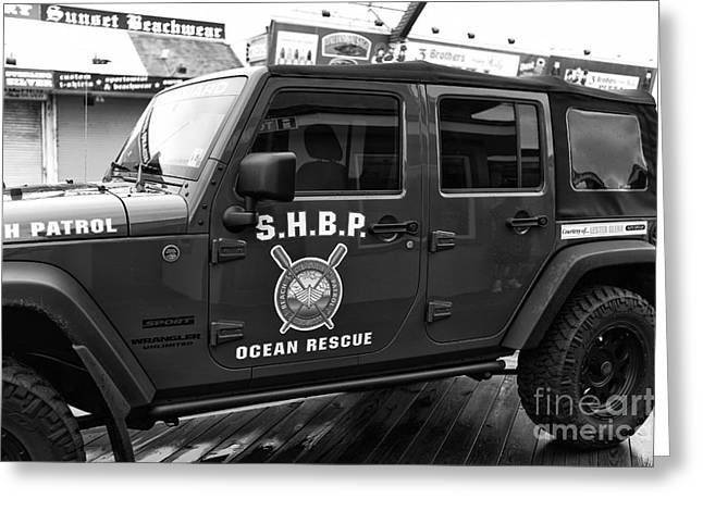 Seaside Height Greeting Cards - Seaside Heights Beach Patrol mono Greeting Card by John Rizzuto