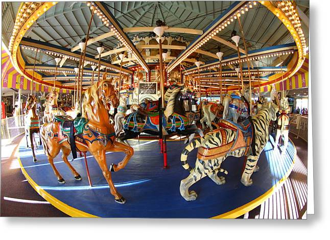 Restore The Shore Greeting Cards - Seaside Heights Boardwalk Carousel Greeting Card by Richard Cheski