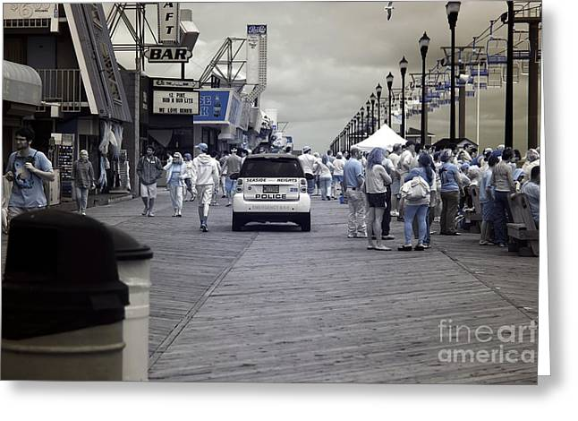 Seaside Height Greeting Cards - Seaside Heights Boardwalk Crowds infrared Greeting Card by John Rizzuto