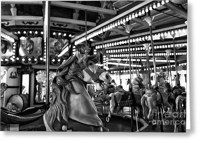 Seaside Height Greeting Cards - Seaside Heights Carousel Horse mono Greeting Card by John Rizzuto