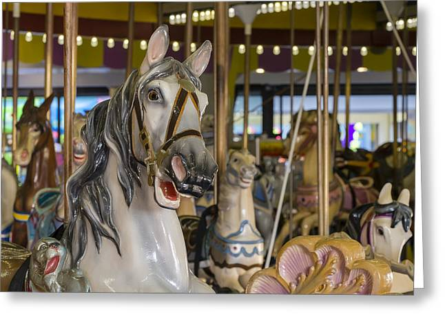 Jersey Shore Greeting Cards - Seaside Heights Casino Carousel  Greeting Card by Susan Candelario