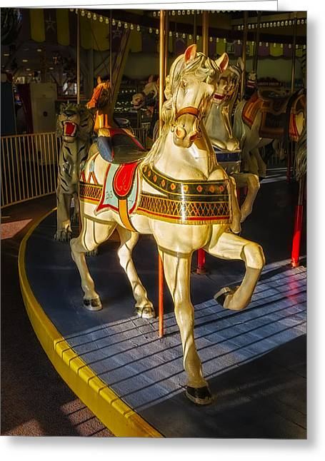 Seaside Heights Greeting Cards - Seaside Heights Casino Pier Carousel  Greeting Card by Susan Candelario