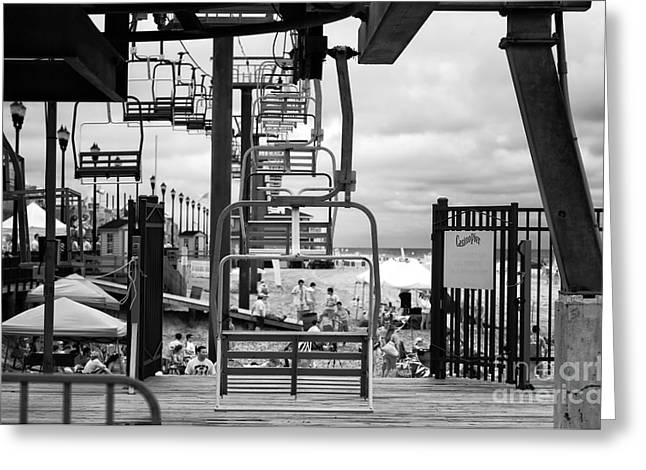Seaside Height Greeting Cards - Seaside Heights Chair Lift infrared Greeting Card by John Rizzuto