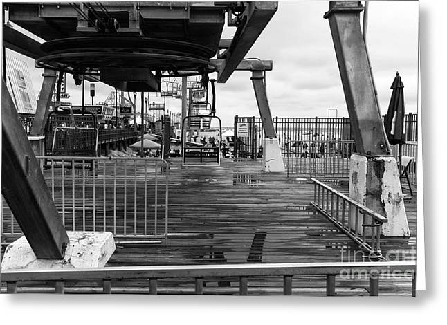 Seaside Height Greeting Cards - Seaside Heights Chair Lift mono Greeting Card by John Rizzuto