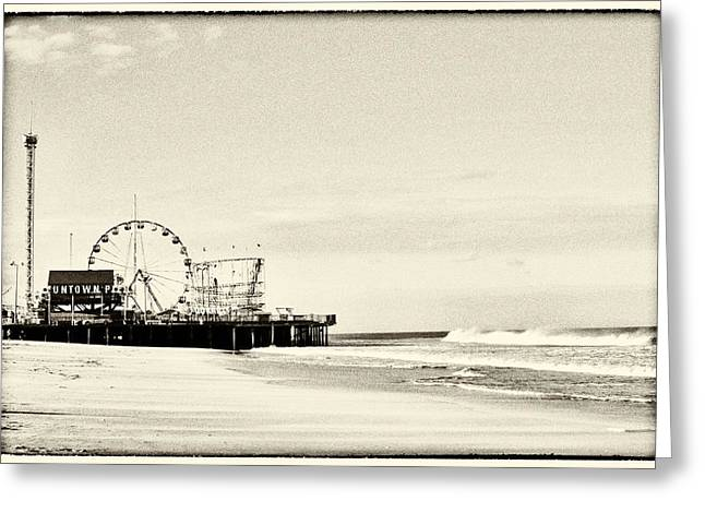 Seaside Height Greeting Cards - Seaside Heights Funtown Pier Vintage  Greeting Card by Terry DeLuco